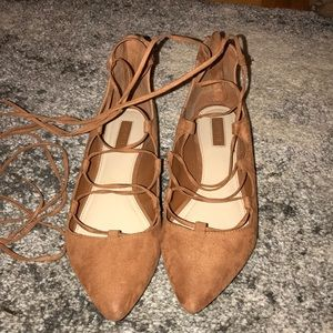 Lace up suede flats